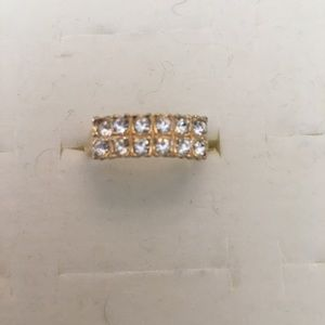 Jewelry - Double row faux Diamond band ring size 7.5